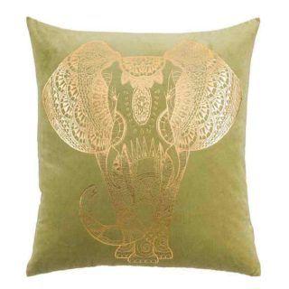 GREEN-GOLD ELEPHANT CUSHION 100% COTTON 60 X 60 CM