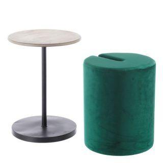 SET TABLE-PUF GREEN WOOD WOVEN 39 X 39 X 54 CM