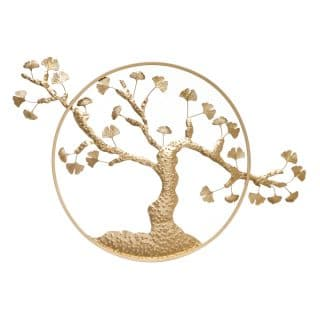 MURAL WALL TREE GOLD METAL DECORATION 128 X 2.50 X 81 CM