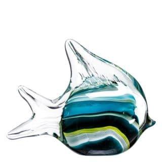 FIGURE GREEN-YELLOW FISH CRYSTAL 16 X 5 X 12 CM