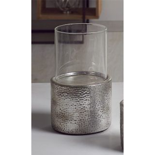 CERAMIC CANDLE HOLDER HAMMERED AGED SILVER 23CMS