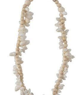 NECKLACE SHELLS/WOOD PEARLS MIX BEIS