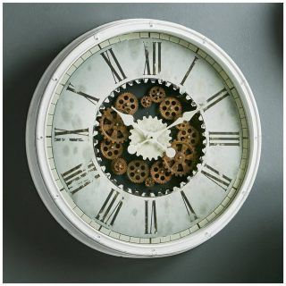 WHITE WALL WATCH WITH MOBILE MECHANISM