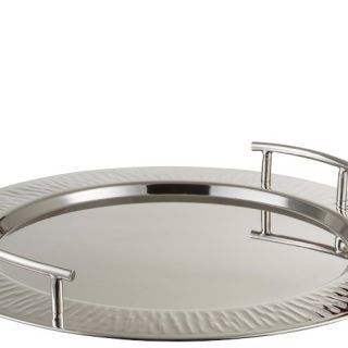 TRAY 2 SILVER STAINLESS STEEL ROUND HANDLES (45X45X6CM)