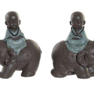 BUDDHA/MONK IN ELEPHANT 17.5X9X18